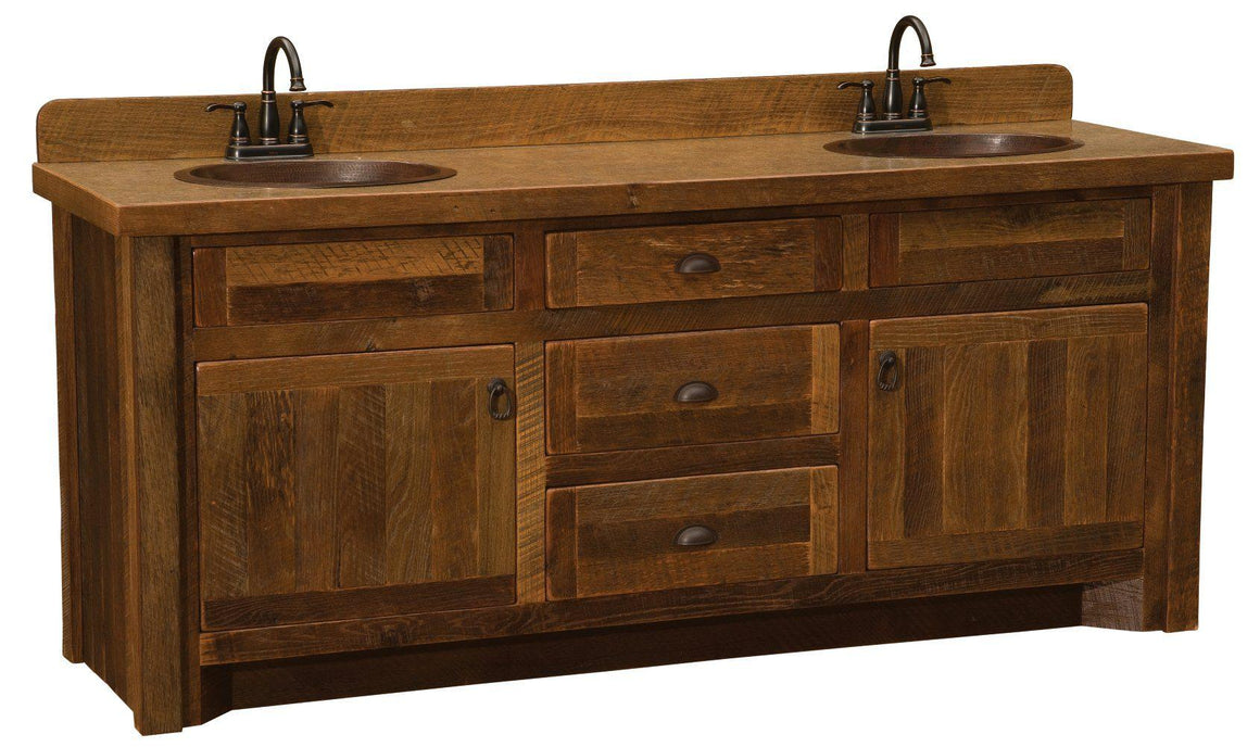 Barnwood Vanity with Laminate Top - 5 Foot, 6 Foot - Double Sink - Rustic Deco Incorporated