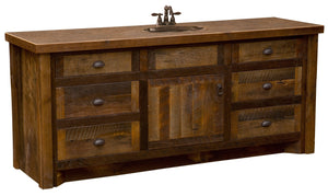 Barnwood Vanity with Laminate Top - 72-inch - Sink Center-Rustic Deco Incorporated