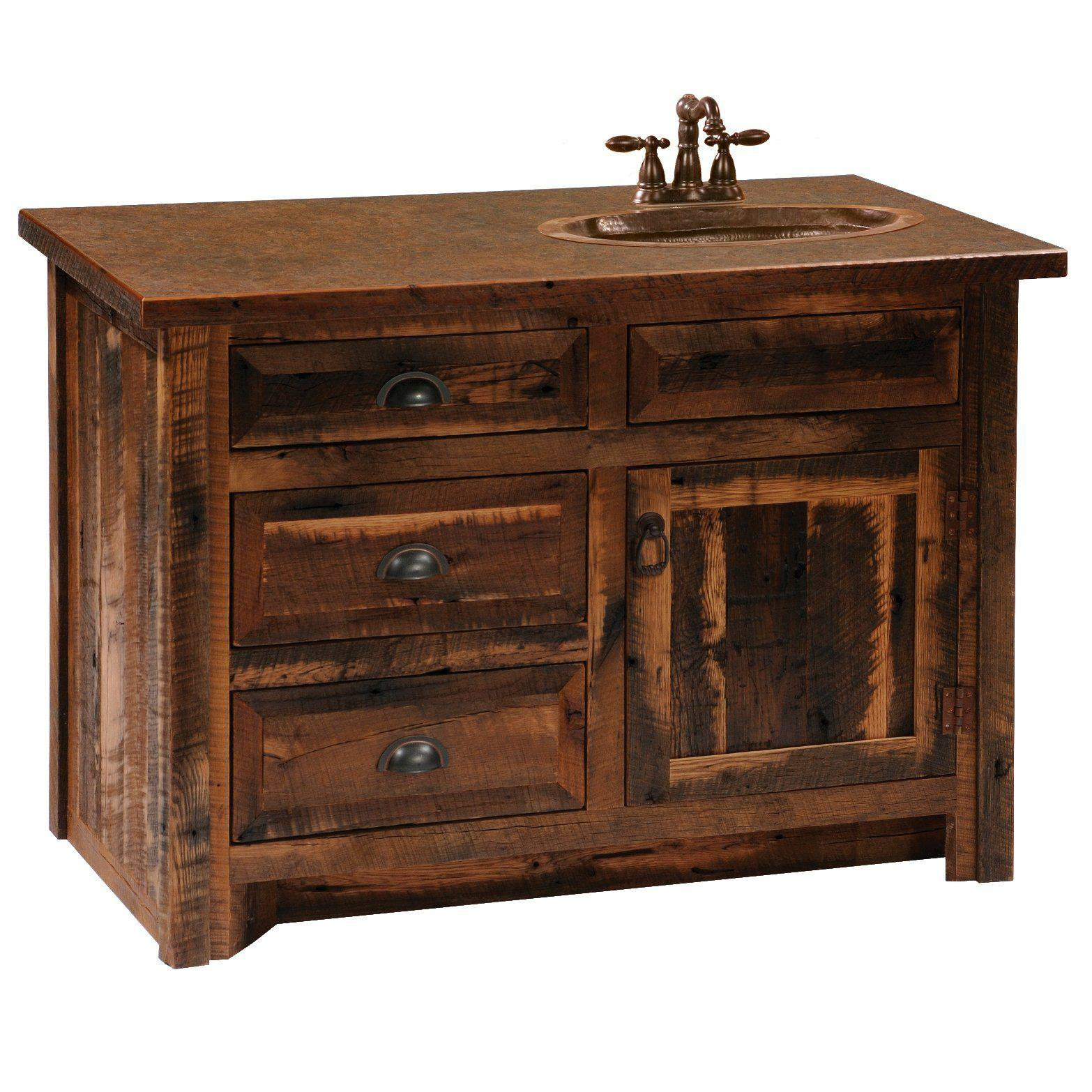 barnwood vanity without top - 36, 42, 48-inch - sink left-right and center