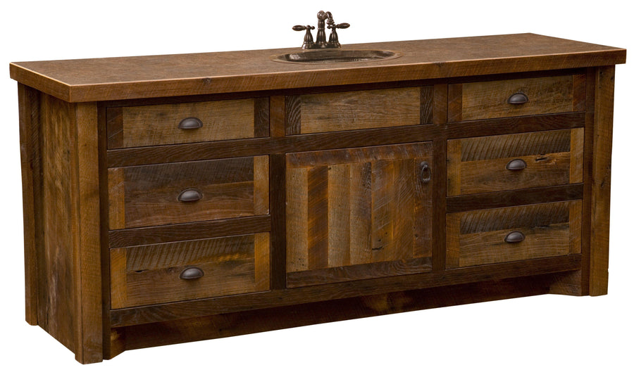 Barnwood Vanity without Top - 72-inch - Sink Center - Rustic Deco Incorporated