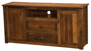 Barnwood Widescreen Television Stand - Barnwood Legs - Standard Finish - Rustic Deco Incorporated