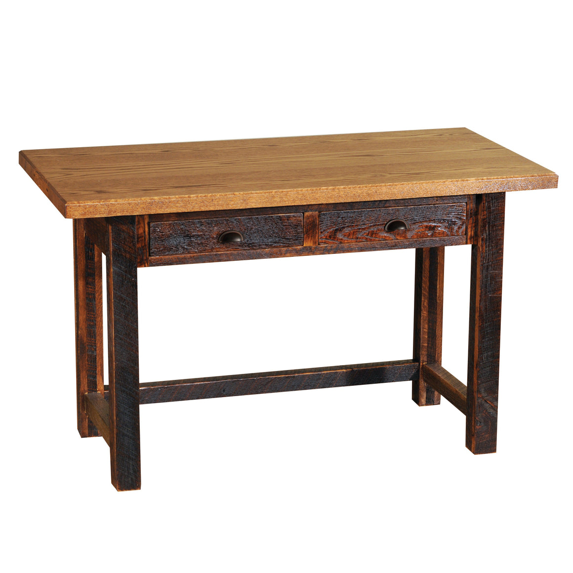 Barnwood Writing Desk with Two Drawers - Rustic Deco Incorporated