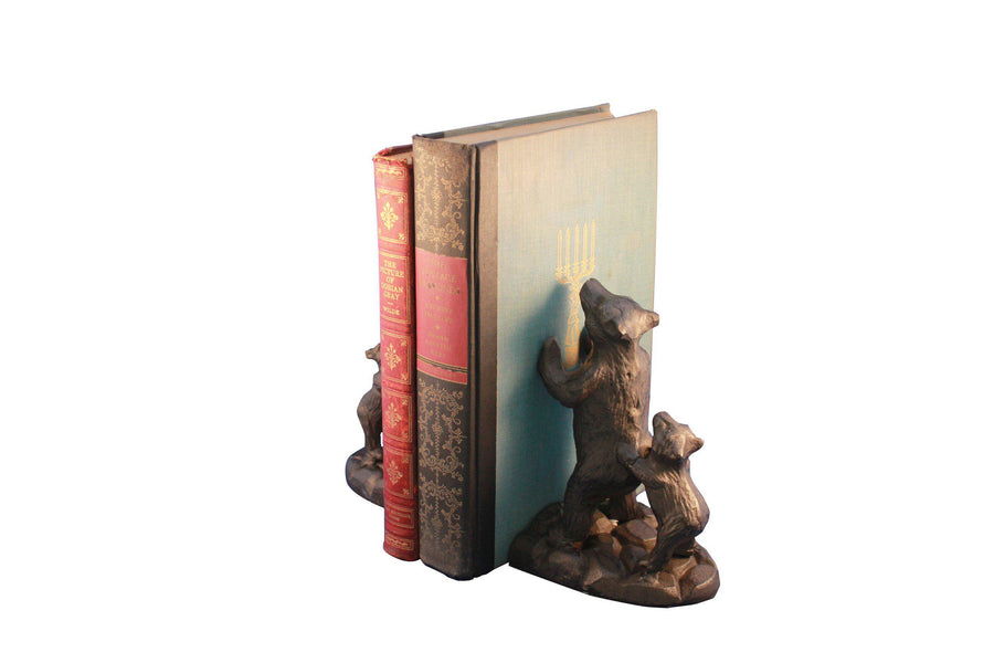 Bear Family Bookends - Metal - Cast Iron - Rustic Deco Incorporated