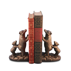 Bear Family Bookends - Metal- Cast Iron - Rustic Deco Incorporated