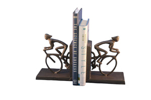 Bicycle Racing Bookends - Metal - Cast Iron Sculpture - Abstract Art - Rustic Deco Incorporated