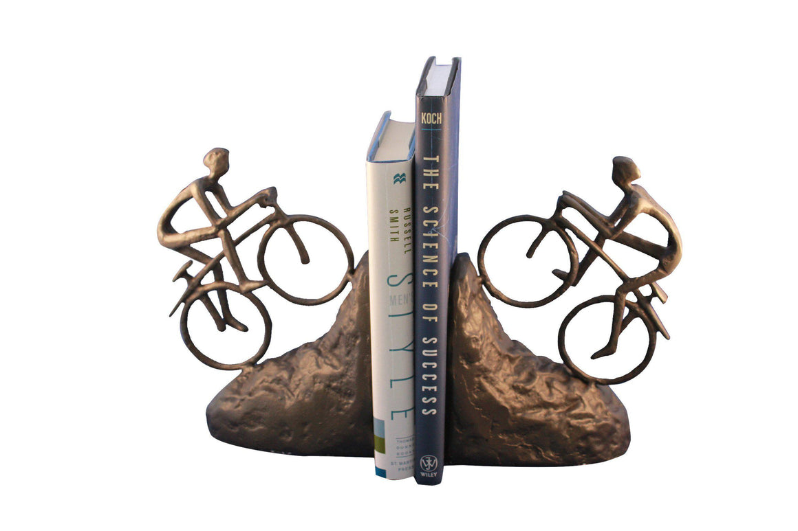 Bike Climbing Bookends - Mountain Bike - Metal - Cast Iron-Rustic Deco Incorporated