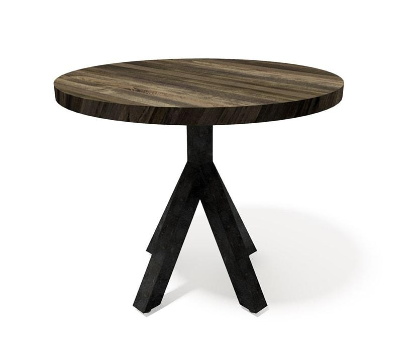 Bistro Modern Industrial Dining Table - Steel Base - Round Hardwood Top-Dining Table-Rustic Deco Incorporated