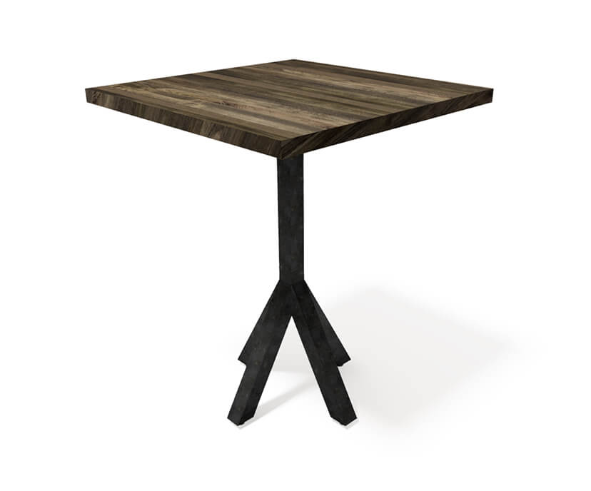 Bistro Modern Industrial Pub Table - Steel Base - Square Hardwood Top-Pub Table-Rustic Deco Incorporated