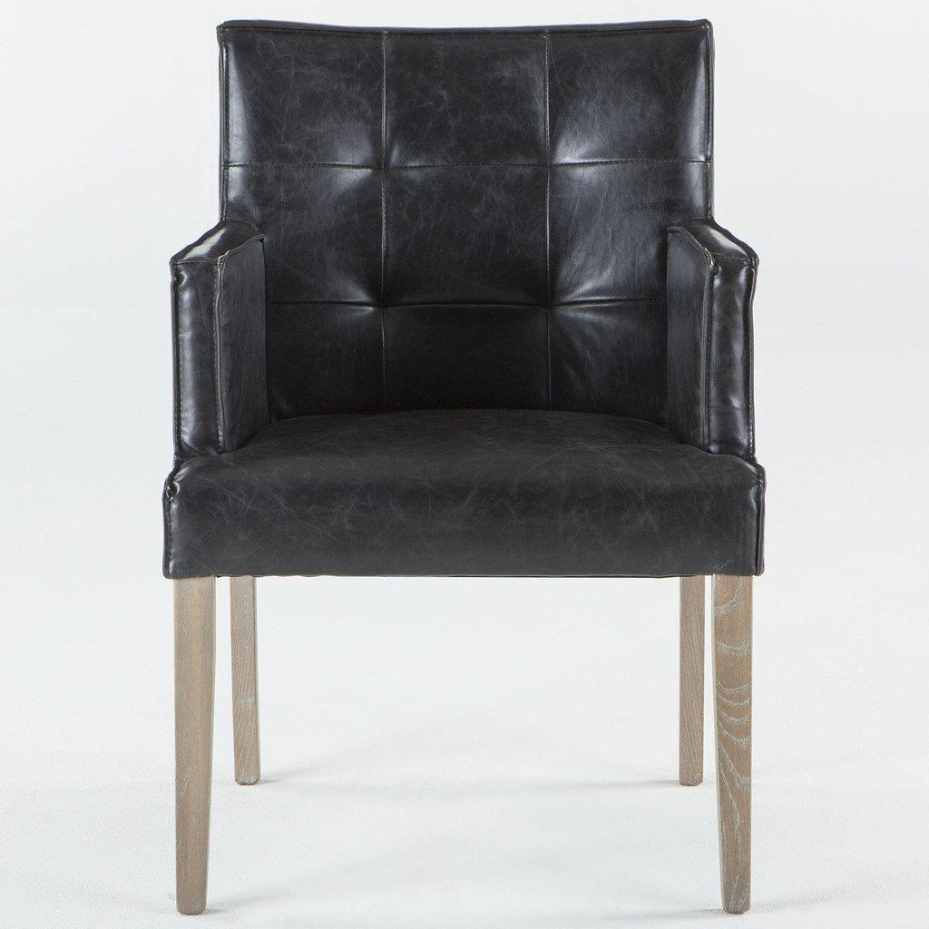 Enjoyable Black Distressed Leather Dining Arm Chair Modern Pdpeps Interior Chair Design Pdpepsorg