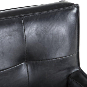 Black Distressed Leather Dining Arm Chair - Modern Contemporary-Set of 2 - Rustic Deco Incorporated