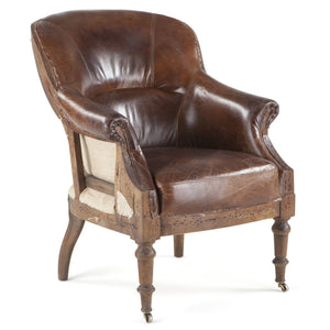Brown Leather Shakespeare Cigar Chair - Deconstructed Back - Mancave-Rustic Deco Incorporated