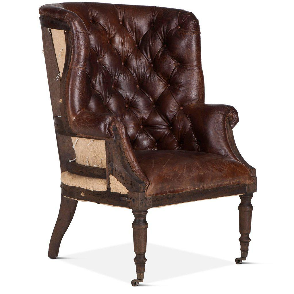 Brown Leather Tufted Cigar Chair - Deconstructed Back - Rustic Deco Incorporated
