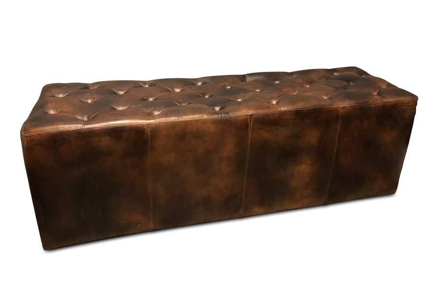 "Brown Tufted Distressed Leather Dining or Casual Bench - 60"" - Rustic Deco Incorporated"