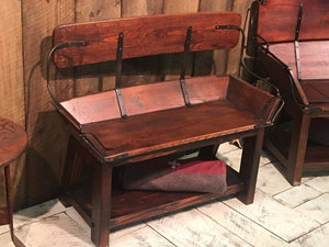 Rustic Western Buckboard Wagon Bench Seat - Solid Wood - Iron Trim - Rustic Deco Incorporated