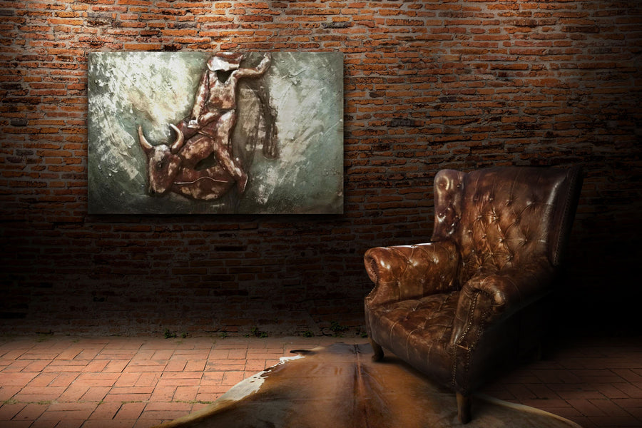 "Bull Rider Western Rodeo Cowboy Rustic 3D Metal Wall Art - 48"" x 30"" - Rustic Deco Incorporated"