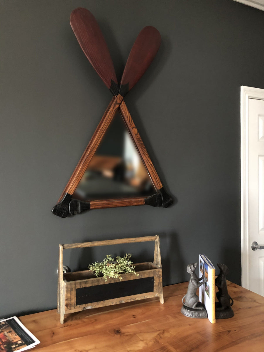 Wood Canoe Boat Paddle Triangle Wall Mirror - Rustic Vintage Style - Rustic Deco Incorporated