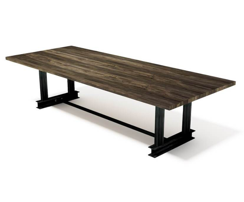 Carruca Modern Industrial Communal Table - Steel Base - Hardwood Top-Conference Table-Rustic Deco Incorporated