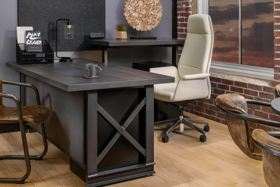 Carruca Modern Industrial Desk - Steel Base - Adjustable Height - L Shape Desk IAO