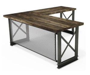 Carruca Modern Industrial Desk - Steel Base - Hardwood Top - L Shape-Desk-Rustic Deco Incorporated