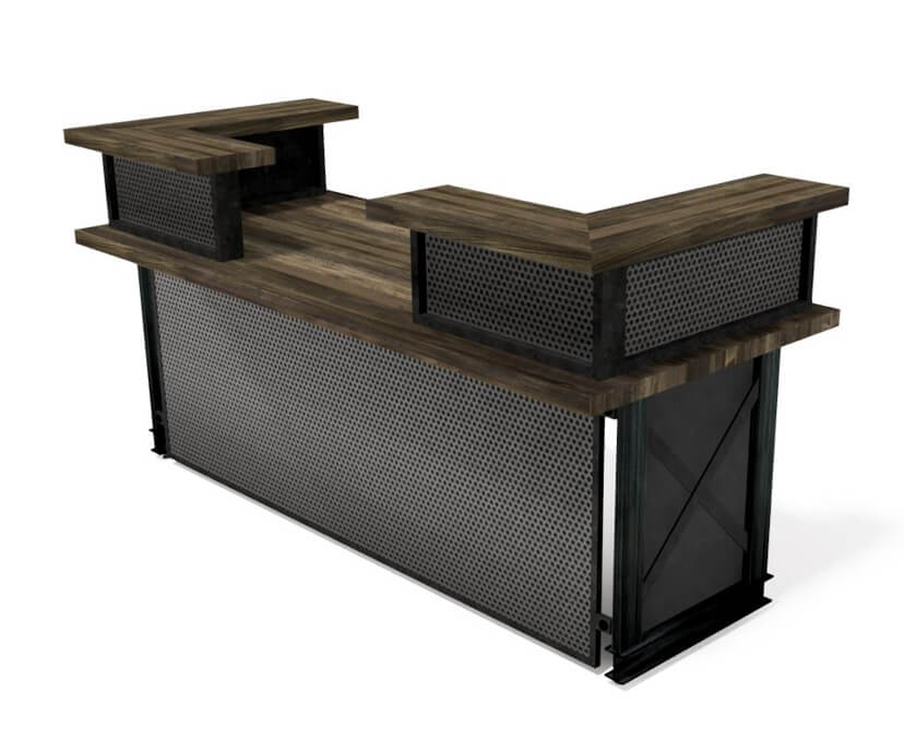Carruca Modern Industrial Reception Desk - Steel Base - Wood Top - L Shape Desk IAO