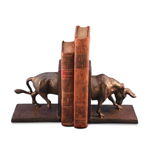Cast Iron Charging Bull Bookends - Metal - Pair - Rustic Deco Incorporated