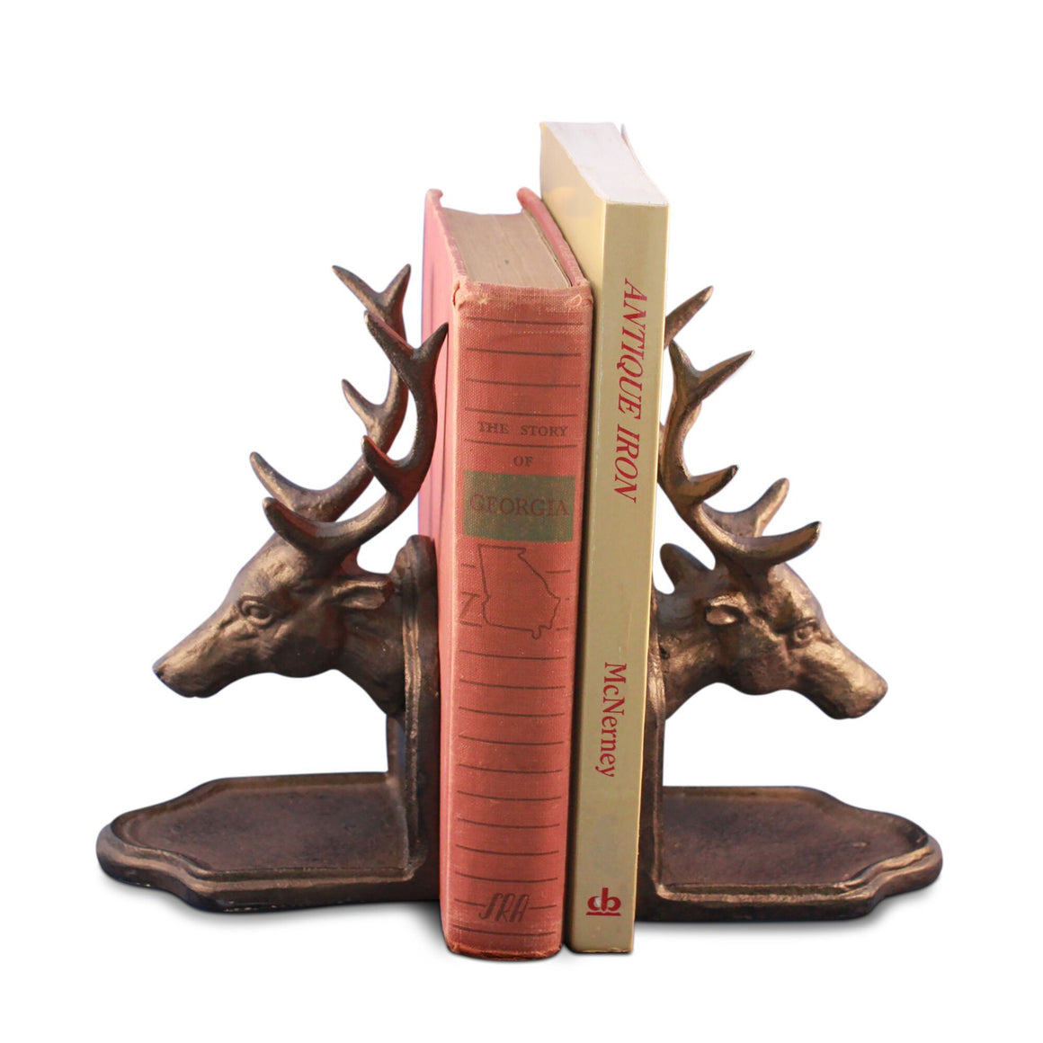 Deer Elk Buck Bookends Sculptured Figurine - Metal Cast Iron - Rustic Deco Incorporated