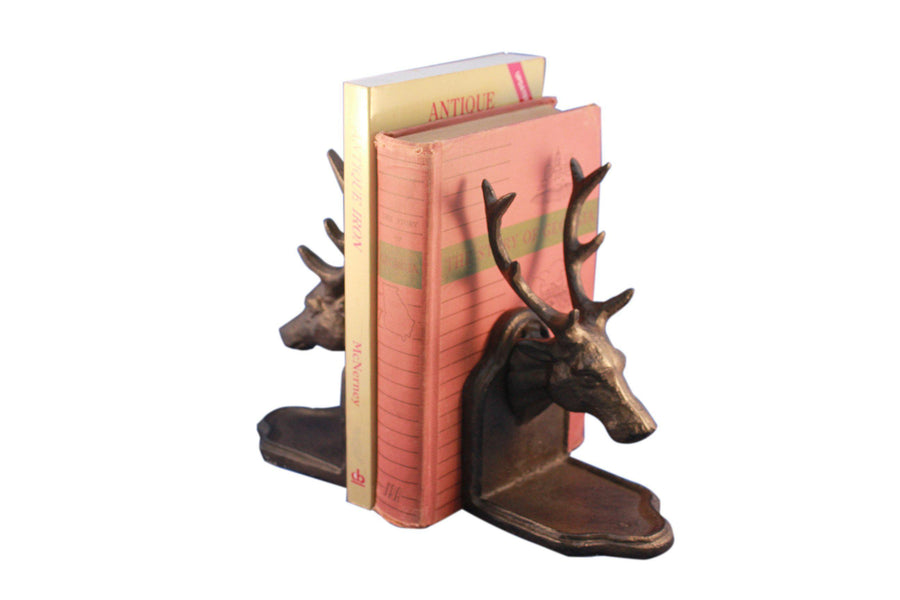 Deer Elk Whitetail Bookends Sculptured Figurines - Metal Cast Iron - Pair - Rustic Deco Incorporated