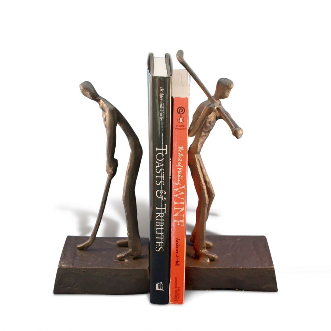 Golfer Golf Bookends Sculpture Figurine - Metal Cast Iron - Abstract - Rustic Deco Incorporated