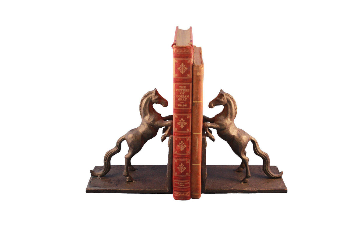 Horse Rearing Bookends - Cast Iron Metal - Pair - Rustic Deco Incorporated