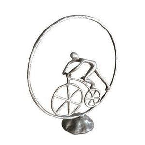 Man in Circle Bicycle Sculpture - Metal Figurine - Cast Iron - Abstract Art - Rustic Deco Incorporated