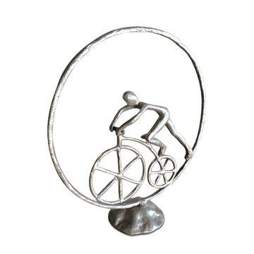 Man in Circle Bicycle Sculpture - Metal Figurine - Cast Iron - Abstract Art-Rustic Deco Incorporated