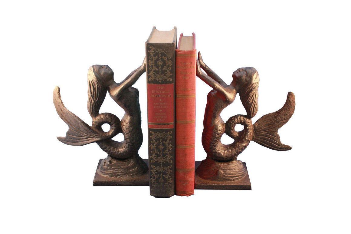 Cast Iron Mermaid Bookends - Metal - Pair - Nautical - Rustic Deco Incorporated