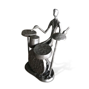 Musician Playing Drums Sculpture Figurine - Drummer - Cast Iron-Rustic Deco Incorporated