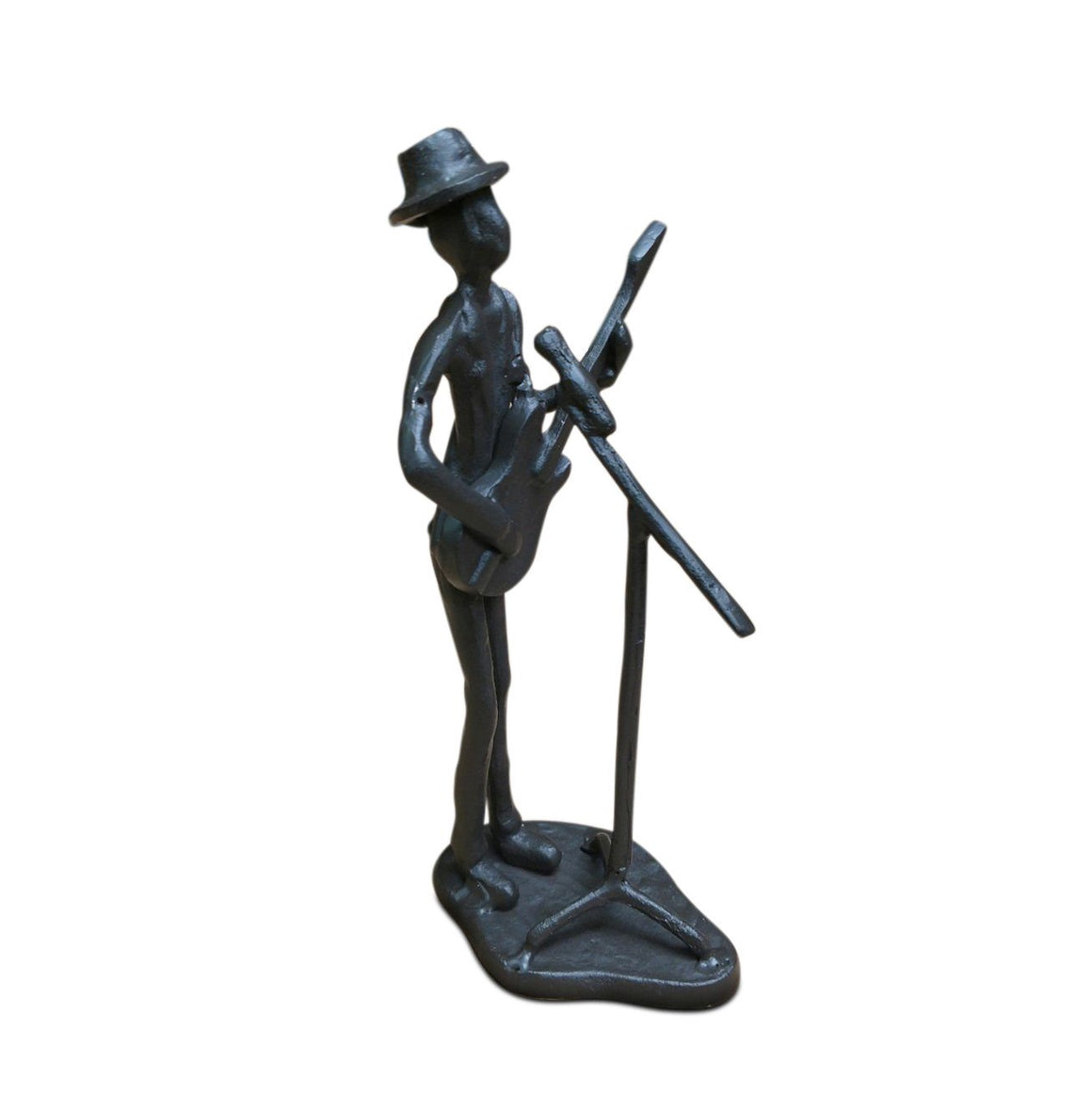 Cast Iron Musician Playing Guitar Sculpture - Rustic Deco Incorporated