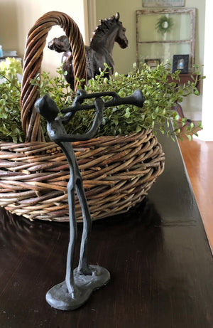 Cast Iron Musician Playing Horn Sculpture - Rustic Deco Incorporated