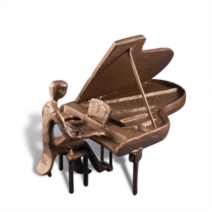 Cast Iron Piano Man - Metal Sculpture - Grand Piano - Rustic Deco Incorporated