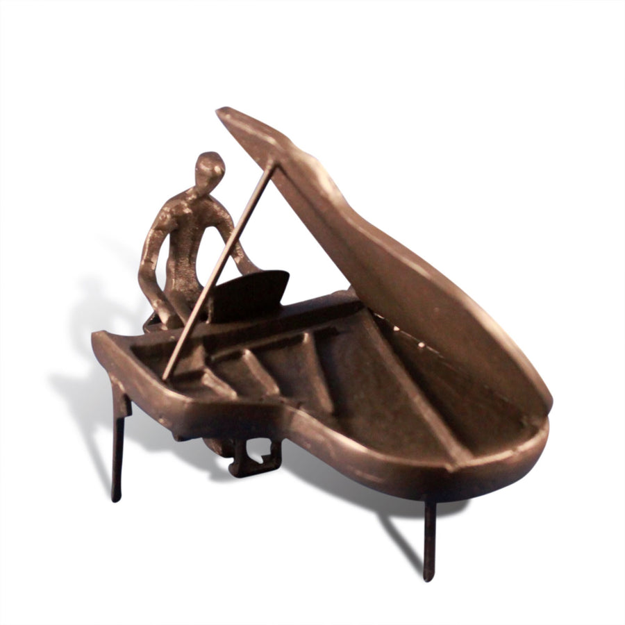 Cast Iron Piano Man - Metal Figurine Sculpture - Grand Piano Player - Rustic Deco Incorporated