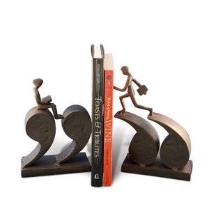 Cast Iron Quotation Runner Bookends - Metal - Pair - Book Reading- Library - Rustic Deco Incorporated