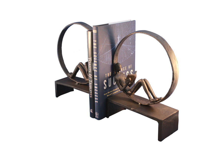 Cast Iron Reader Ring Bookends - Metal Sculpture - Book Enthusiast - Rustic Deco Incorporated