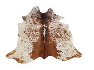 Chestnut Tri-Color Genuine Brazilian Cowhide Rug 6x8' - Rustic Deco Incorporated