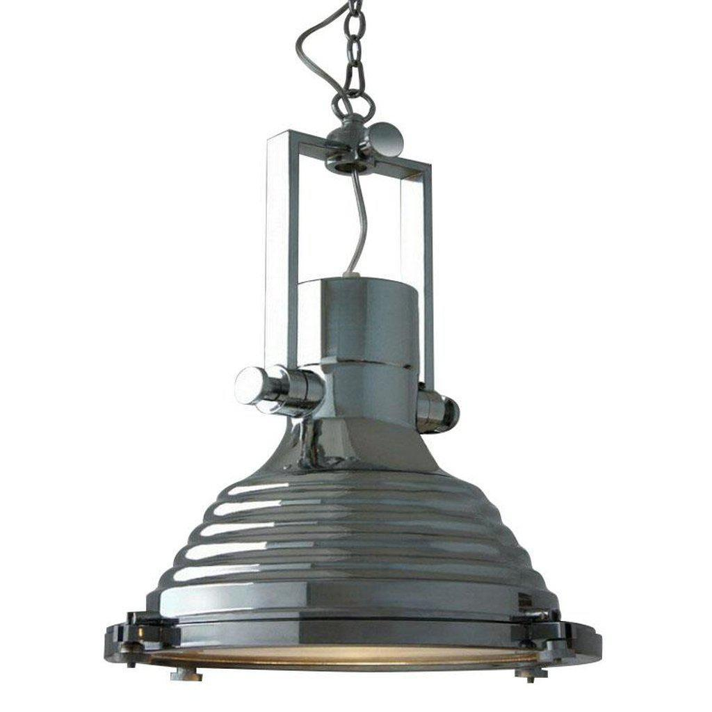 "Polished Chrome Nautical Pendant Light - 17"" Diameter-Rustic Deco Incorporated"