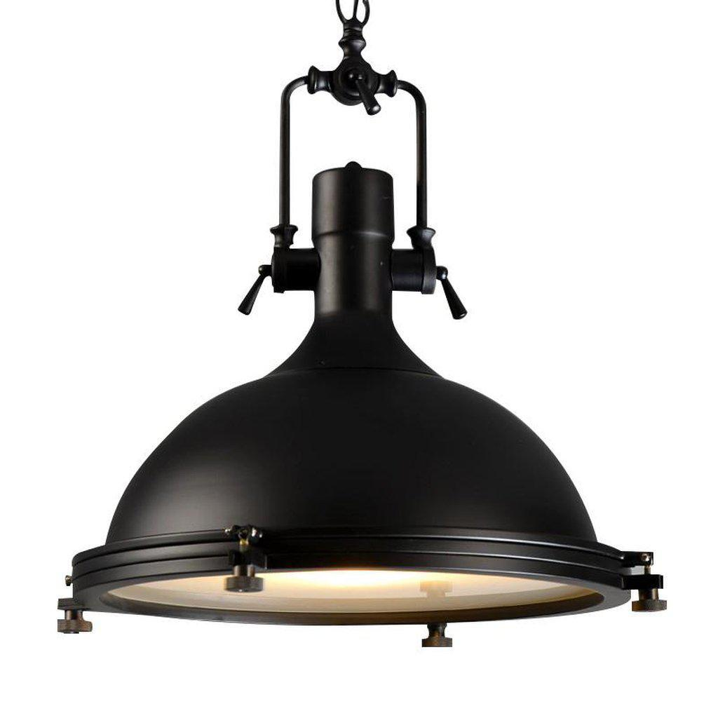 "Classic Black Large Nautical Pendant Light - Modern Industrial - 18"" - Rustic Deco Incorporated"