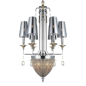 Handcrafted Classic Modern Polished Chrome Crystal Chandelier - Rustic Deco Incorporated