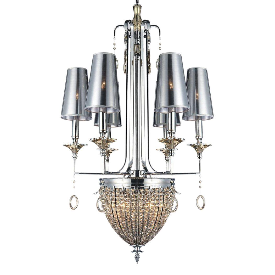 Classic Modern Polished Chrome Crystal Chandelier - Powerful - Handcrafted - Rustic Deco Incorporated