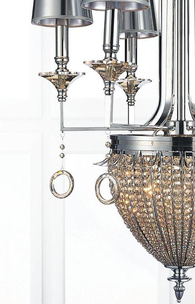 "Modern Polished Chrome Crystal Chandelier - Handcrafted - Unique 46"" - Rustic Deco Incorporated"