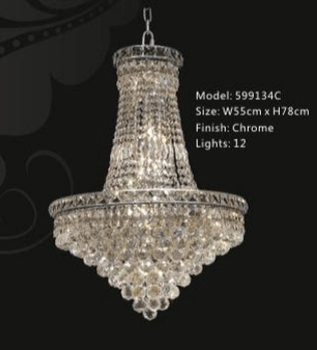 "Classic Crystal Empire Chandelier - French Art Deco Style - 27"" x 46"" - Rustic Deco Incorporated"