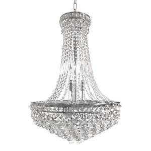 "French Empire Crystal Chandelier - Polished Chrome - European - 46"" x 27""-Rustic Deco Incorporated"