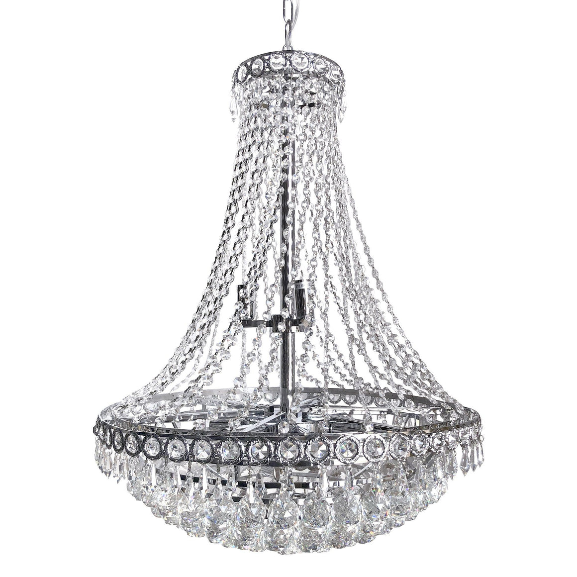"Classic Empire Tiered Crystal Chandelier - French Art Deco Style - 24"" x 30"" - Rustic Deco Incorporated"