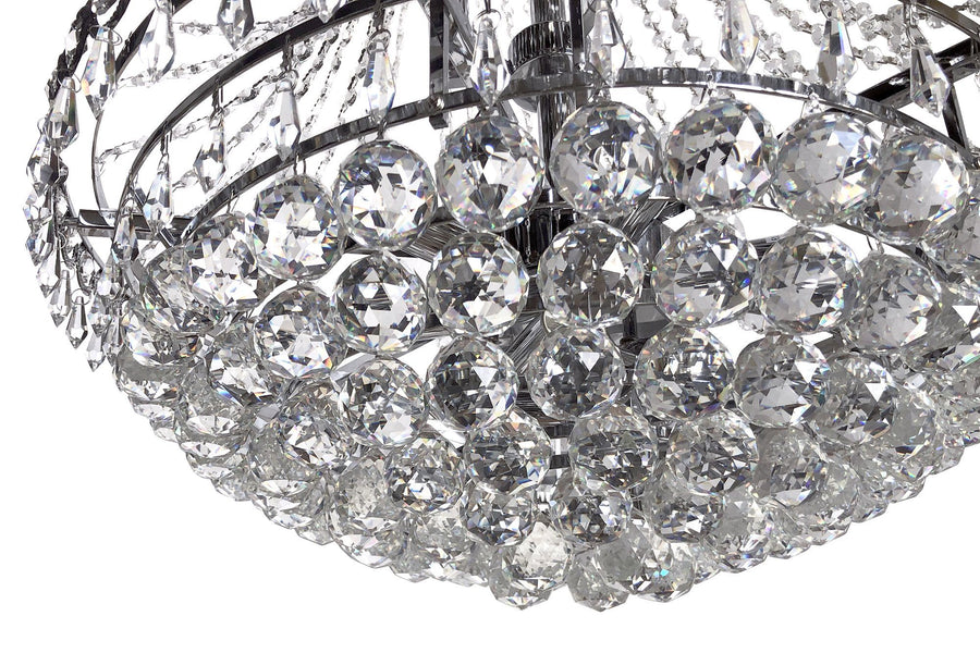 "French Empire Tiered Crystal Chandelier - Chrome - Art Deco - 30"" x 24""-Rustic Deco Incorporated"