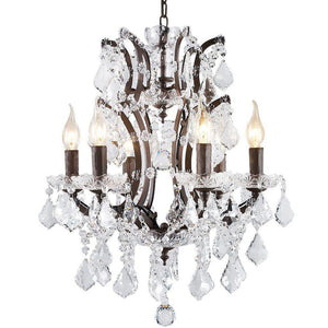 Classic Formal Crystal and Distressed Iron Chandelier - 6 Lights - Rustic Deco Incorporated